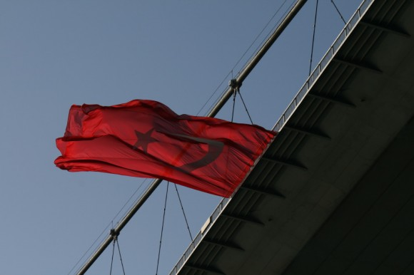 bosporus bridge with Turkish flag