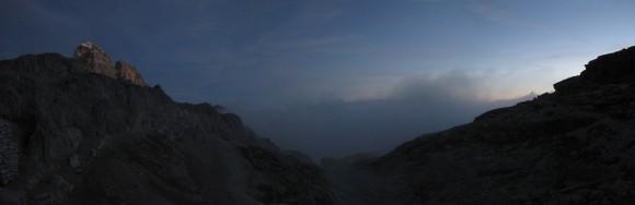 Kurz nach Sonnenuntergang auf der Büllelejochhütte